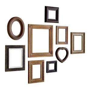 Bilder in verschiedenen Größen aufhängen? Ganz einfach! Mit diesem 9-teiligen Bilderrahmen-Set in verschiedenen Formen und Größen lassen sich tolle Collagen an die Wand bringen. Maße: ca. B12,5 x T2 x H12,5 cm bis zu B28 x T2 x H33 cm, Gewicht: ca. 0,4 kg, Material: Tannenholz, MDF.<br>