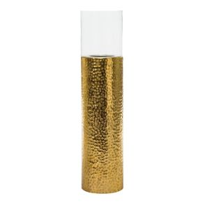 Modernes Glaswindlicht mit einem Fuß aus Aluminium, der von Hand gearbeitet wurde. Der Glaszylinder ist abnehmbar, Handarbeit: Ja, Maße: ca. 113 cm hoch, 25 cm Ø, Gewicht: ca. 7,5 kg, Material: Aluminium, Glas.<br>