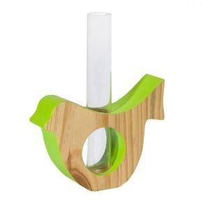 Für die ersten kleinen Frühlingsblüher. Lieferung erfolgt incl. Reagenzglas. Maße: ca. B11 x H9 (ohne Reagenzglas) x T3 cm, Material: Pinienholz, Glas.<br>