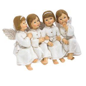 Diese vier niedlichen Engel haben sich einiges zu erzählen und machen es sich beispielsweise an einer Tischkante bequem. Maße: ca. L15,5 x B5,5 x H10 cm, Gewicht: ca. 0,4 kg, Material: Polyresin.<br>