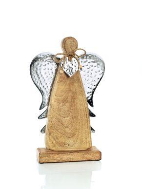 Mit gehämmerten Metallflügeln und Herz. Maße: ca. L20 x T5 x H32 cm, Gewicht: ca. 1,1 kg, Material: Mangoholz, Metall.<br>