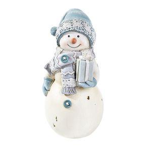 Putziger Schneemann mit winterlicher Kleidung. Maße: ca. B8 x T7 x H14,5 cm, Gewicht: ca. 0,3 kg, Material: Polyresin.<br>