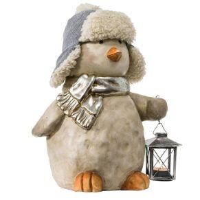 Dekofigur Vogel Spatz Mit kleine Laterne für ein Teelicht, Maße: ca. Breite 24 x Tiefe 22 x Höhe 35 cm, Gewicht: ca. 2,7 kg, Material: Magnesia, Metall, Kunstpelz.<br>