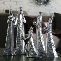 Dekofiguren-Set Krippe Antik Silber, 5-tlg.