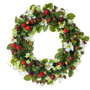Frischer Frühlingskranz mit vielen kleinen, künstlichen Erdbeeren. Maße: ca. 40 cm Ø, Gewicht: ca. 0,9 kg, Material: Kunststoff, Rattan.<br>
