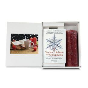 Entweder schon im Advent oder erst an den Weihnachtstagen - 24 spannende Krimis rund um Stollen, Schnee und Sensenmann. In einem schneeweißen Karton mit dekorativem Aufkleber, mit der wunderschönen rustikalen rubinroten Kerze (20 x 7 cm), Maße: ca. L 27,5 x B 22 x H 51 cm.<br>