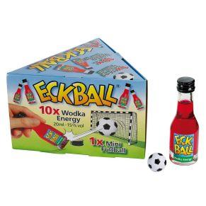 Das Highlight für jede Fußball-Party... Ein MUSS für jeden Fußball-Fan... Der Volltreffer bei jedem Spiel... Und so geht&apos;s: Eckball®-Packung öffnen Mini-Fußball entnehmen Aufwärmrunde trinken und somit Platz im Stadion schaffen TOR nach vorne ausbrechen und los geht&apos;s !. 10 x 20 ml Wodka-Energy, 1x Mini-Fußball, Maße: Karton ca.16 x 14 x 10 cm, Flasche ca. 9,5 cm hoch, Ball ca. 2 cm Durchmesser. Zutaten: Wodka-Energy 15%.<br>