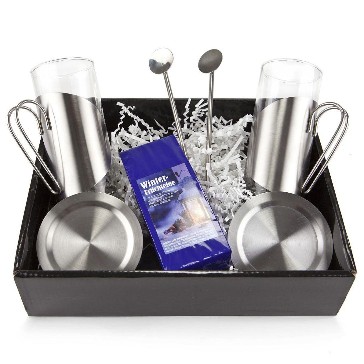 Geschenk Set Winter Tee Genuss Tee Teegläser Löffel