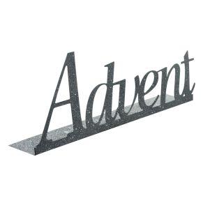 Modernes Kerzentablett in silberfarben mit Glitzerpartikeln. Lieferung erfolgt ohne Kerzen. Maße: ca. Länge 47,5 x Breite 8,5 x Höhe 19 cm, Gewicht: ca. 0,35 kg, Material: Metall.<br>