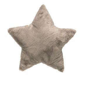 Flauschiges, gefülltes Kissen in Sternform. Maße: ca. 10 cm dick, Ø 40 cm, Material: 100% Polyester.<br>