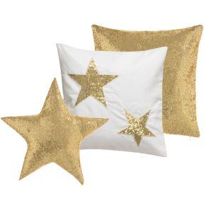 Dieses 3-tlg. Set besteht aus zwei Kissenhüllen (je 40x40 cm) sowie einem gefüllten Stern (Ø 40 cm). Kissenhüllen mit Reißverschluss, Stern ohne Reißverschluss, Gewicht: ca. 0,3 kg, Material: 100% Polyester.<br>