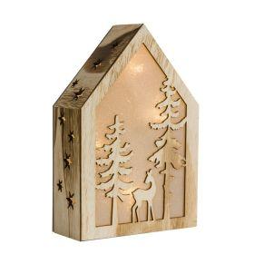 Mit Hänger auf der Rückseite, kann somit auch als Wanddeko benutzt werden. Nur für den Innenbereich geeignet, Batterien: 2 x1,5V Mignon AA (nicht im Lieferumfang enthalten), Material: Holz, Kunststoff.<br>