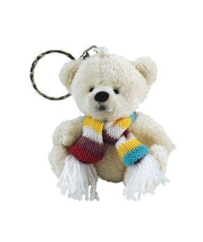 Kuscheliger Plüschbär Schlüsselanhänger. Ausgestattet mit einem bunten gestrickten Schal (beim Schal sind Farbabweichungen möglich), Maße: ca. 7 cm hoch, Material: 100% Polyester.<br>
