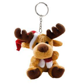 Mit Mütze und Schal ist dieser niedliche Elch aus weichem Material bestens ausgestattet für die Weihnachtszeit. Nicht geeignet für Kinder unter 3 Jahren. Mit Schlüsselanhänger, Maße: ca. 9 cm hoch, Material: 100% Polyester.<br>