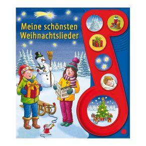 Farbig illustriertes Soundbuch mit Weihnachtsliedern. Die Soundbuttons finden sich im Buch wieder, um das passende Lied zu starten. 14-seitiges Pappbilderbuch mit Sound-Klangleiste, Batterien: Batterien inklusive, Maße: ca. B20 x H22,5 cm, Gewicht: ca. 0,3 kg.<br>