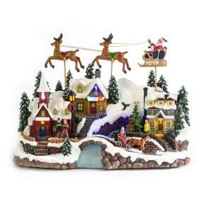 Spieluhr mit bunten LED Lichtern sowie 8 bekannten Weihnachtsliedern. Mit Netzadapter (Euroflachstecker) und Batteriefach, spielt 8 verschiedene Weihnachtslieder, die Musik kann ausgestellt werden, 1/ Jingle Bell, 2/ We wish you a Merry Christmas, 3/ Silent Night, 4/ Deck the Halls, 5/ Joy to the world, 6/ The first Noel , 7/ Hark! The Heard Angel sing , 8/ Oh, Christmas Tree, Maße: ca. L32 x B18 x H23 cm, Gewicht: ca. 2,4 kg, Material: Polyresin.<br>