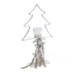 Dekorativer Teelichthalter in Form einer weißen Tannenbaum-Silhouette. Verziert mit Dekobändern und kleinen Sternen aus Holz, Teelicht nicht im Lieferumfang enthalten, Maße: ca. T8 x B24 x H44 cm, Gewicht: ca. 0,5 kg, Material: Metall, Glas, Textilbänder, Holz.<br>