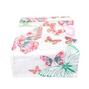Dekorativer Tischläufer mit wunderschönem Druck. Mit Schmetterlingen in Pastell-Farben, Maße: ca. 50x160 cm, Material: 100% Baumwolle.<br>