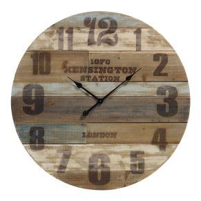 Mit dem Vintage-Look und den verschiedenen Farben ist diese Uhr ein echter Hingucker. Batterien: 1 Mignonbatterie (exklusive), Maße: Ø 80 x T 7,5 cm, Gewicht: ca. 3,65 kg, Material: Tannenholz.<br>