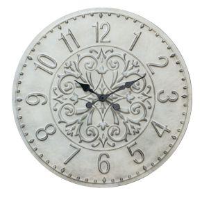 Das schlichte beige und die Ornamente in der Mitte der Uhr verbinden sich zu einer stilvollen Wanduhr. Uhrenart: Analog, Batterien: 1 Mignonbatterie (nicht inklusive), Maße: ca. Ø 79,5 x T5 cm, Gewicht: ca. 2,9 kg, Material: Holz (Ursprungsland China).<br>