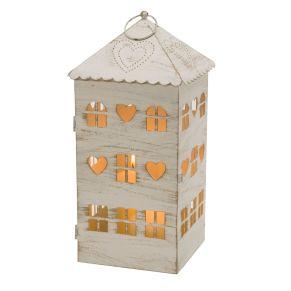 Mit Kerzen bestückt verbreitet es ein wohliges Licht. Im romantischn Shabby Chic Look, das Lichthaus ist mit einem Antikfinish versehen, Maße: ca. Breite 20 x Tiefe 20 x Höhe 40 cm, Gewicht: ca. 1,2 kg, Material: Metall.<br>