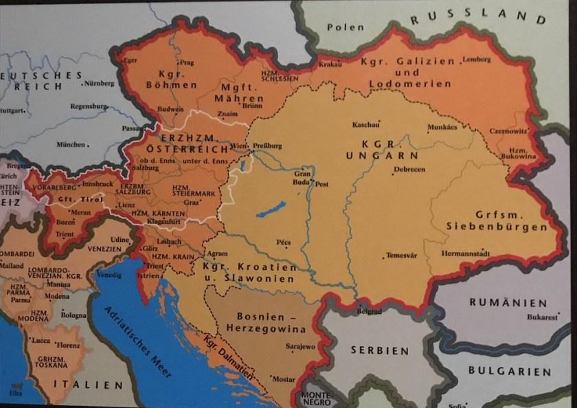 Karte Donaumonarchie