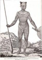 Ein alter Krieger mit Tätowierung