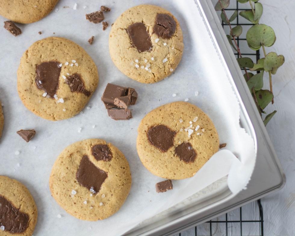 Auf diesem Bild sind zuckerfreie Schoko - Cookies zu sehen. Sie liegen auf einem silbernen Backblech ,welches auf einem schwarzen Gitter liegt. Daneben liegen grüne Eukalyptusblätter und man sieht immer wieder Schokostückchen auf dem Bild.