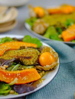 Zucchini in Kürbiskernpanade und gebratener Kürbis von vorne fotografiert. Der Zucchini und Kürbis liegt auf einem gemischten Salat, daneben eine Physalis.