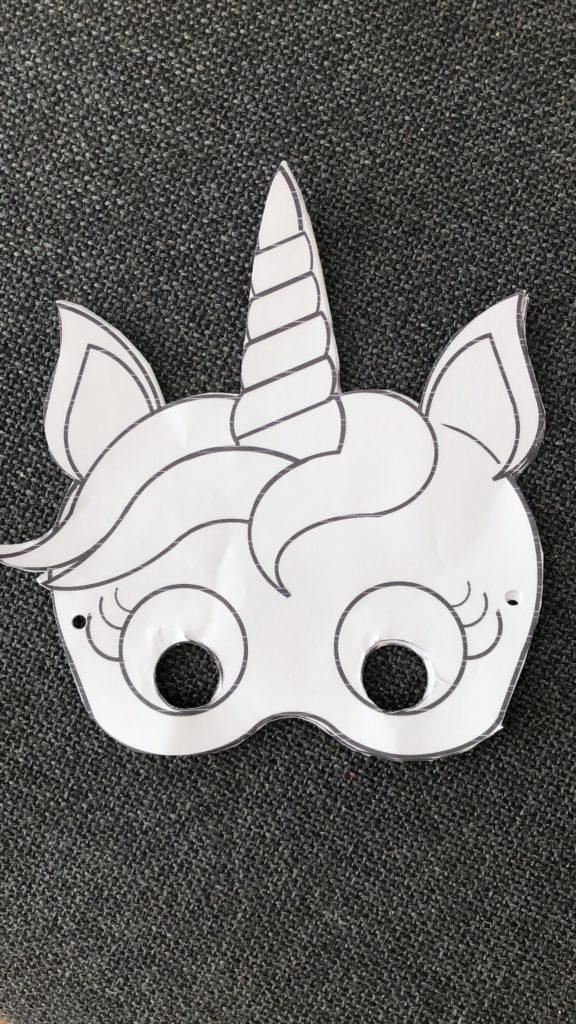 DIY Kindergeburtstag Bastelidee Einhorn Maske