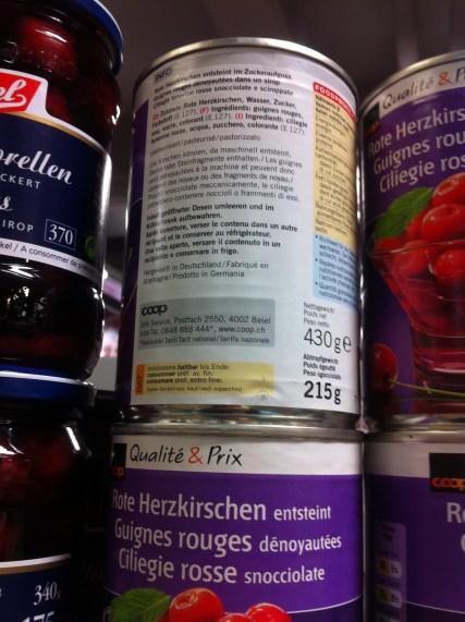 Rote Herzkirschen, Wasser, Zucker und E127