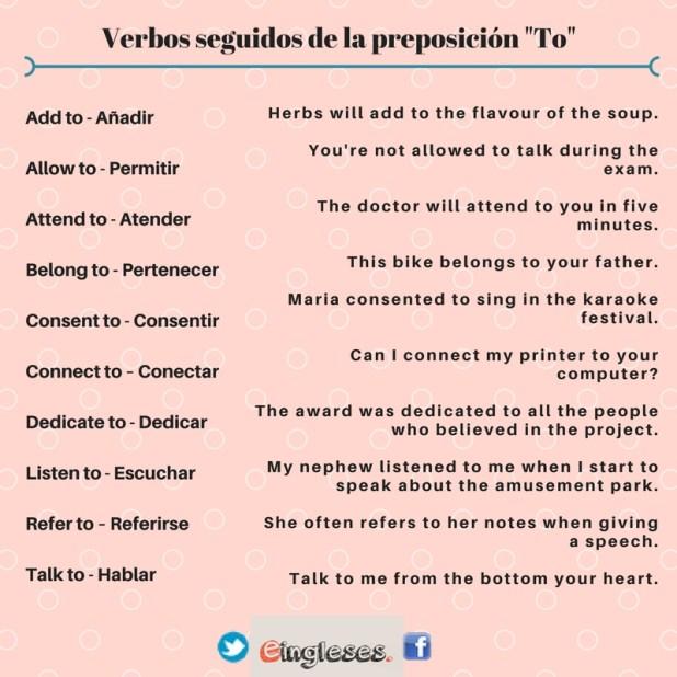 Verbos seguidos de la preposición to