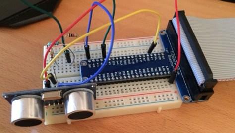 ultrasonic sensor on bread board