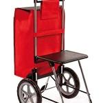 Einkaufstrolley Relax mit Sitz Einkaufshilfe mit Sitz ausgeklappt / Einkaufstrolley Vergleich / Einkaufstrolley Test