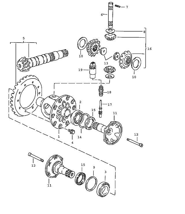 Porsche 944-2 1985-1988 Ring gear and pinion shaft 8 : 27