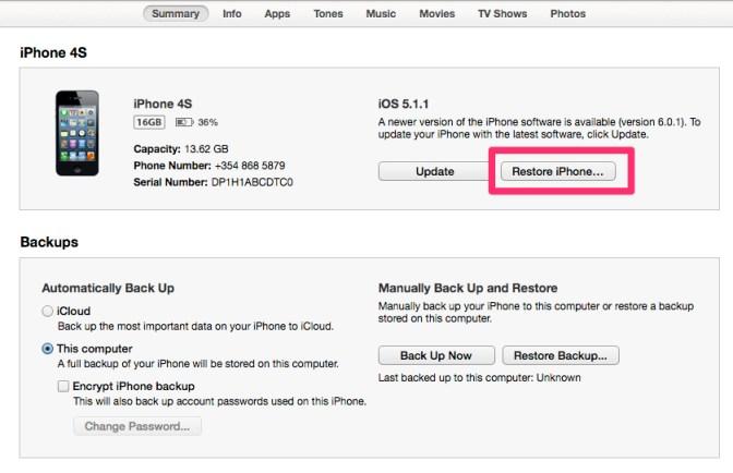 Núllstilla iPhone í iTunes