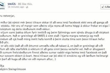 SMÁÍS kveður Facebook