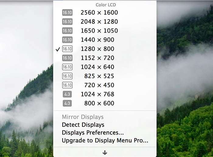 Display Menu - Mac