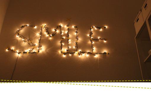 Lichterkette Schrift, Typografie, Leuchtbuchstaben