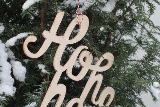 Typoweihnachten, Weihnachtsanhänger, Adventsschmuck, Holz
