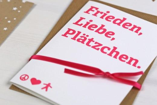 Frieden Liebe Plätzchen, Letterpress, Weihnachtskarte, Herzlichst