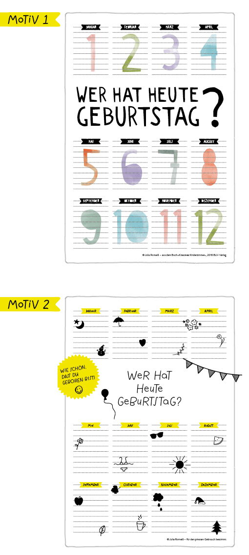 Freebie, Birthdaycalendar, Kinderzimmerkalender, Printable