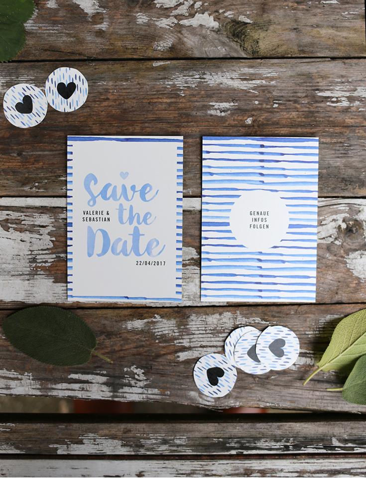 Hochzeitspapeterie, Herzlichst, Save the Date, Batik