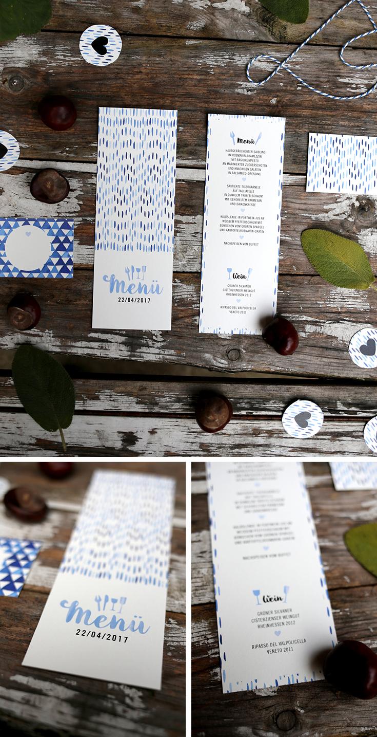 Hochzeitspapeterie, Herzlichst, Menükarte, Batik