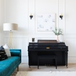 Best Wall Sconces featued by top US interior design blog E.INTERIORS; living room with piano