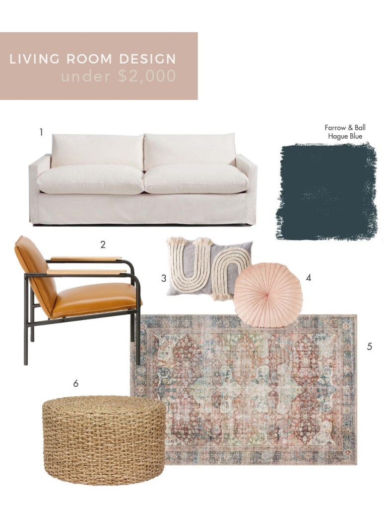 CONTEMPORARY LIVING ROOM DESIGN IDEAS UNDER $2,000 by popular design Blog, E. Interiors: collage image of a grey love seat, oriental rug, woven ottoman, throw pillows, and a mid-century modern chair.