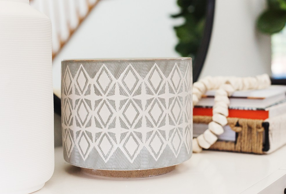 Vintage Chic Decor with Walmart by popular life and style blog, E. Interiors: image of 3R Studios Grey and White Stoneware Planters.