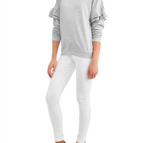 20 Unexpected Walmart Finds by popular life and style blog, E. Interiors: image of a woman wearing a Walmart sweater, Walmart white jeans, and Walmart heel sandal.