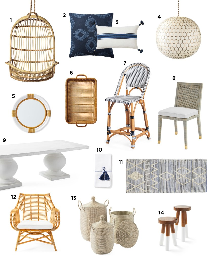 CYBER MONDAY DEALS AND SALES! by popular interior designers, E. Interiors Design: collage image of throw pillows, pendant light, hanging chair, wicker serving tray, mirror, bar stool, chair, table, cloth napkins, rug, rattan chair, woven baskets, and mini bar stools.