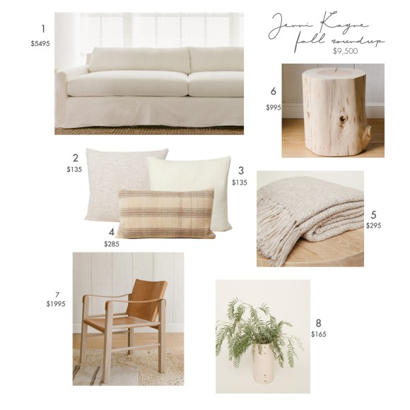 Jenni Kayne by popular US interior design blog, E. Interiors Design: collage image of a Jenni Kayne white couch, throw pillows, plant, beige blanket, and wood stump end table.